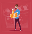 man hold thumb up modern video blogger vlog vector image vector image
