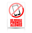 No mobile phone allowed sign vector image vector image