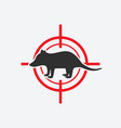 opossum silhouette animal pest icon red target vector image