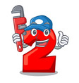 plumber number two red isolated on mascot vector image