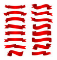 red shiny curved ribbons set vector image vector image