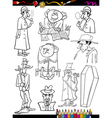 retro people set cartoon coloring page vector image vector image
