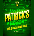 saint patricks day party poster design eat drink vector image vector image