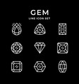 set line icons of gem vector image vector image
