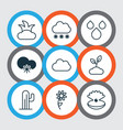 set of 9 world icons includes bush plant water vector image vector image