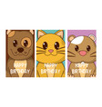 set of birthday cards with animals vector image vector image