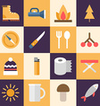 Set of Flat Style Travel Icons Tourism Travel vector image
