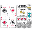 set of gambling symbols ace dice chips vector image
