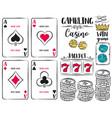 set of gambling symbols ace dice chips vector image