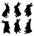 silhouette of a sitting up rabbit vector image