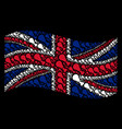 waving great britain flag mosaic of fried chicken vector image