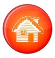 Wooden house covered with snow icon flat style vector image vector image