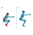 wrong and correct air squat exercise right vector image vector image