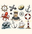 marine and nautical or sea ocean emblems set of vector image