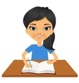 cute little asian student girl writing vector image