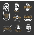 Set of vintage barber shop emblems label vector image