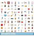 100 habits icons set cartoon style vector image vector image