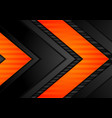 abstract black orange arrows tech background vector image vector image