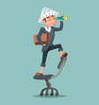 adventurer hat newspaper businessman mascot pirate vector image vector image