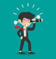 angry businessman with a telescope vector image