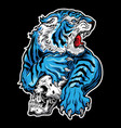 animals angry tiger blue skull on black vector image vector image