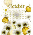 Autumn october calendar with golden leaves