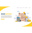 bank deposit website landing page design vector image vector image