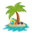 beach balloon with sunglasses accessory vector image vector image