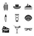 beachwear icons set simple style vector image vector image