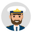 bearded captain in uniform portrait vector image