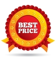 Best price red label with stars and ribbons vector image