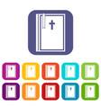 bible icons set flat vector image vector image