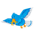 Blue bird with worms in its mouth vector image vector image