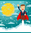 businessman superhero flies up and leaves a cloud vector image vector image