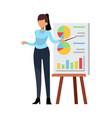 businesswoman giving presentation female office vector image