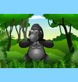 cartoon gorilla in the jungle vector image vector image