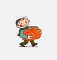 Child with big pumpkin between arms vector image