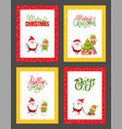 christmas greeting cards with santa claus and elf vector image vector image