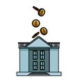 coins falling into bank building vector image vector image