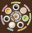 collection of hot drinks in everyday vector image vector image