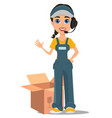 courier woman with headset accepts an order vector image