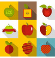 creative apple icons set flat style vector image vector image