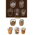easter eggs in baskets and cakes vector image