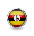 flag of uganda button with metal frame and shadow vector image vector image