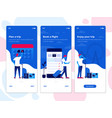 flat design oneboarding concepts - travel app vector image vector image