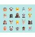 Flat Style Hipster Animals Avatar Portraits vector image