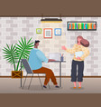 friendly colleagues talking in office man woman vector image vector image