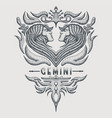 gemini zodiac vintage vector image vector image