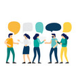 group of people talk to each other with speech vector image
