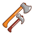 hammer and axe icon cartoon style vector image